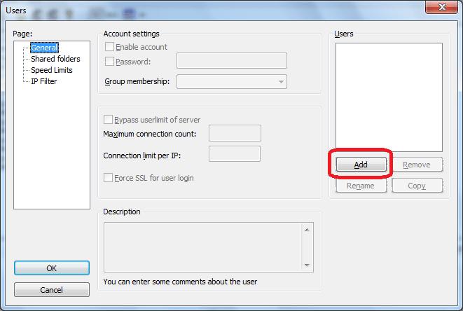 Добавление нового пользователя в программе FileZilla Server