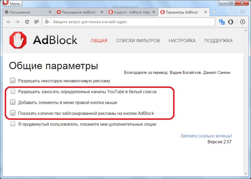 Другие параметры в AdBlock в Opera