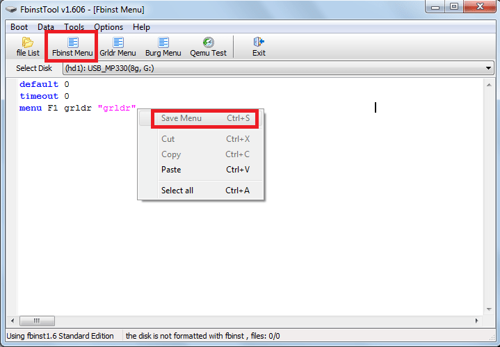 FBinst Menu в FBinst Tool в WinSetupFromUsb