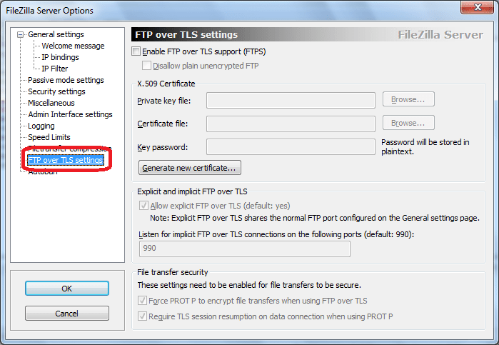 FTP over TLS settings программы FileZilla Server