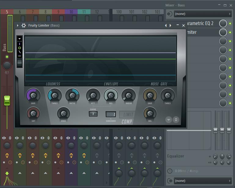 Fruity Limiter для баса в FL Studio