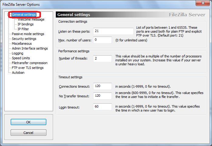 Generall Settings программы FileZilla Server