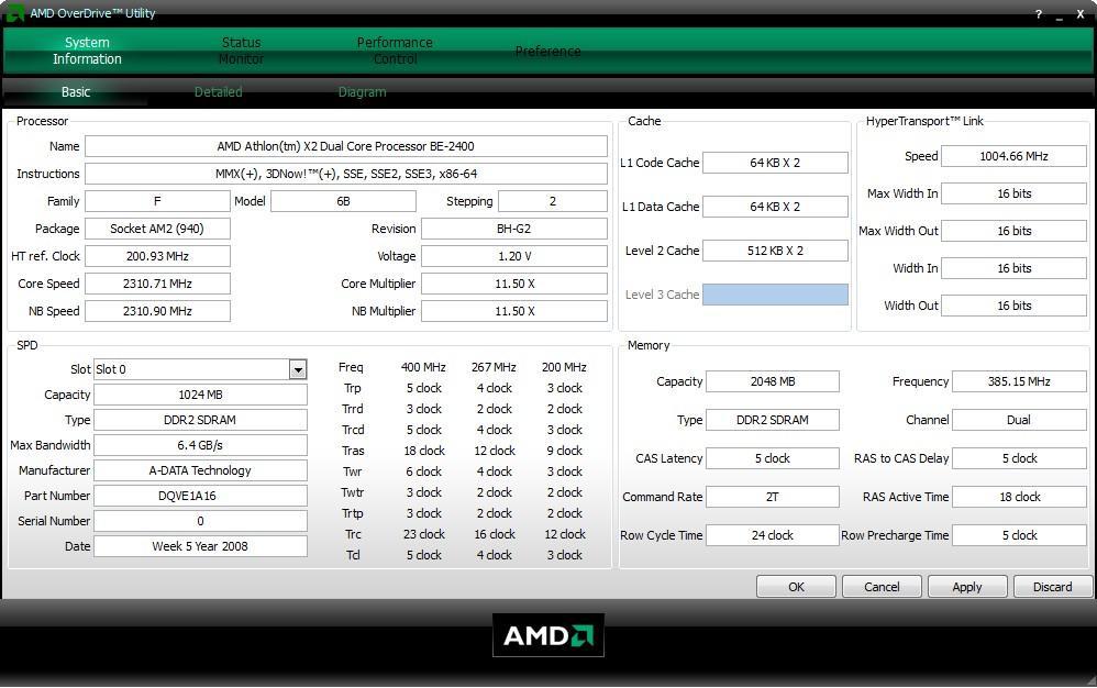 Главное окно AMD OverDrive