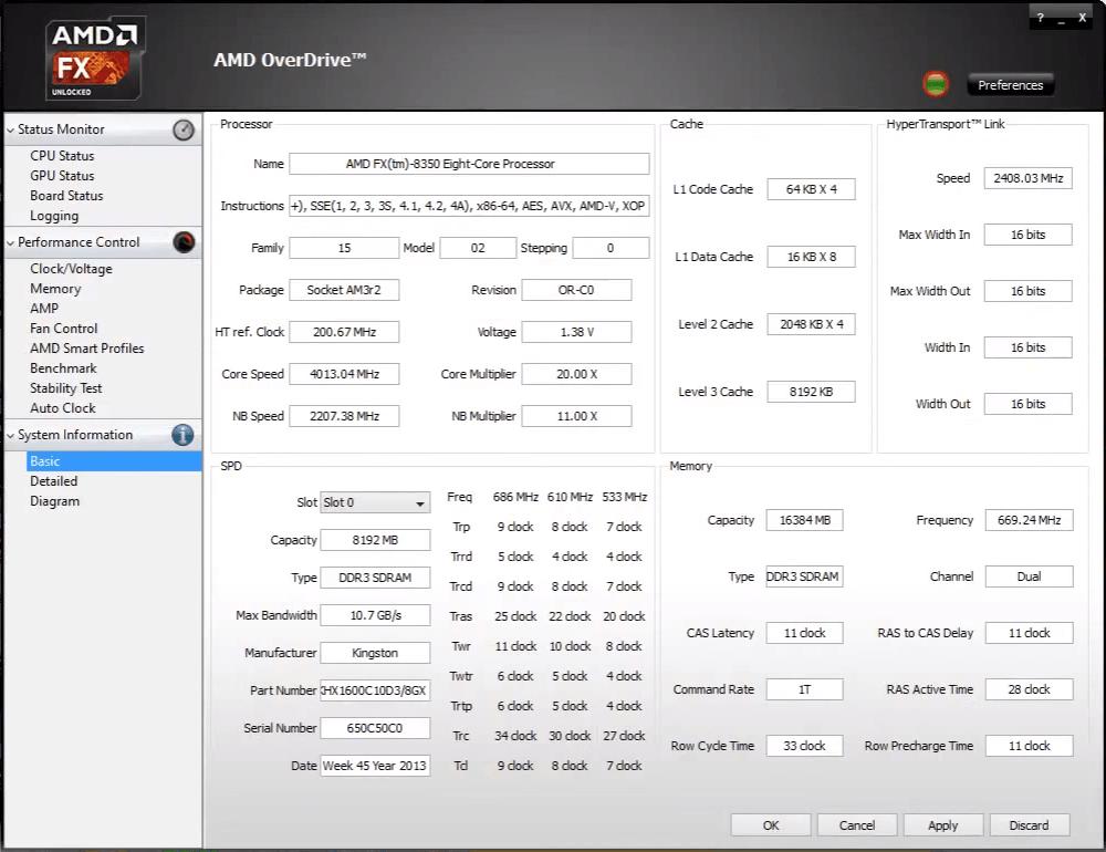 Главное окно AMD