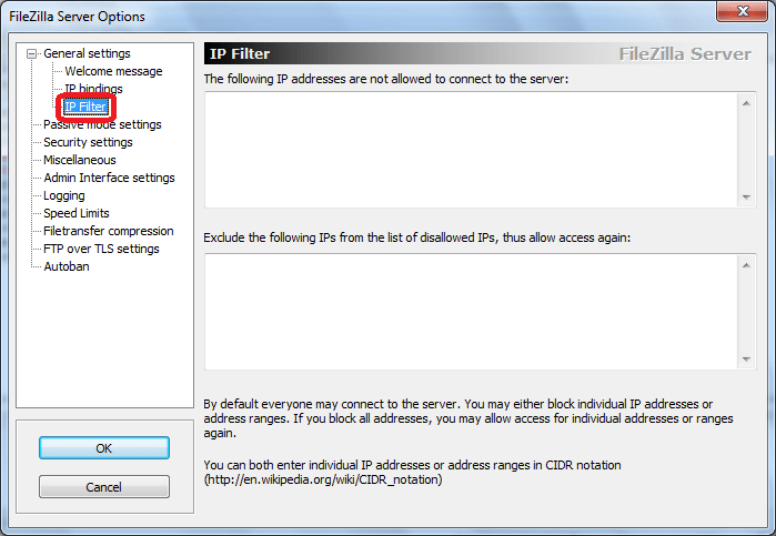 IP Filter программы FileZilla Server