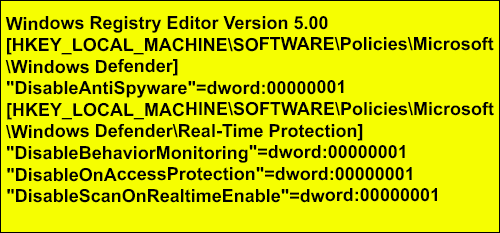 Информация для реестра для отключения Microsoft Security Essentials