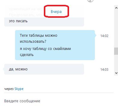 Кнопка открытия истории переписки в Skype