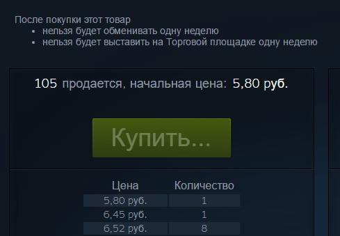 Кнопка покупки карточки в Steam