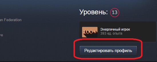 Кнопка редактирования информации профиля Steam