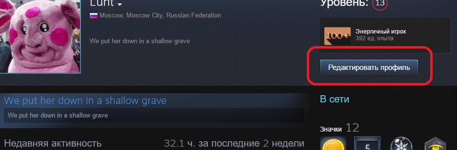 Кнопка редактирования профиля в Steam