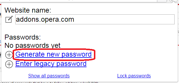 Меню в Easy Passwords   в Opera