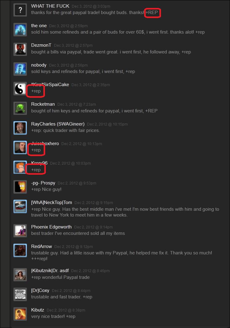 Метка репутации на стене в Steam
