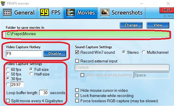 Настройка качества записываемого видео в FRAPS для Steam