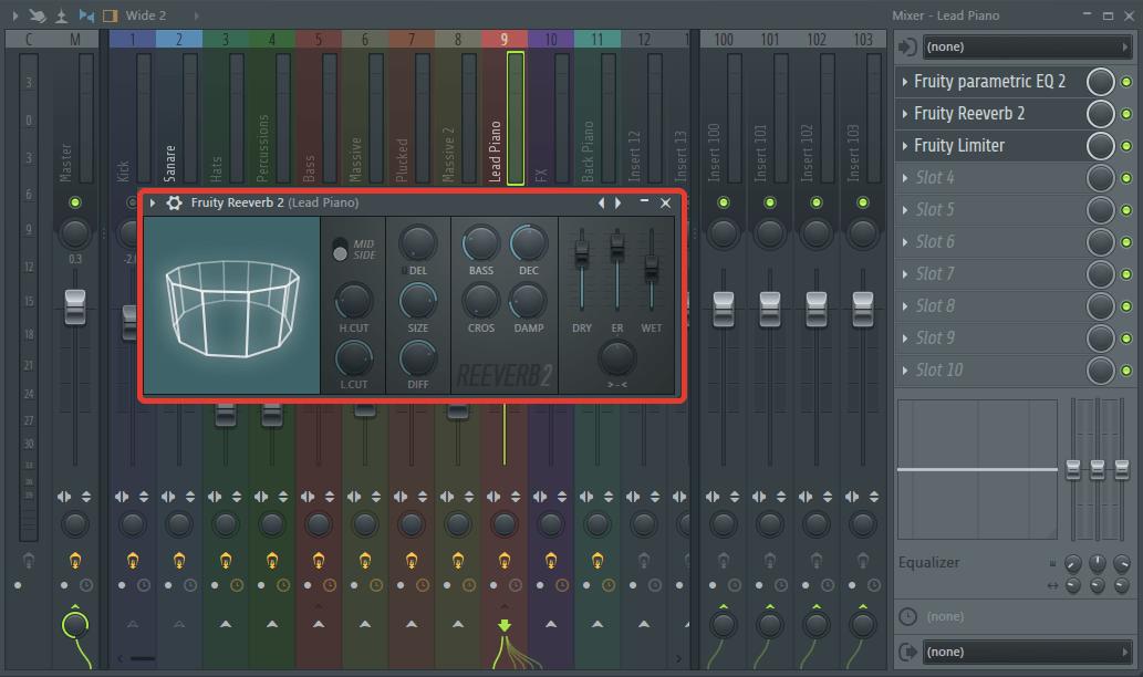 Обработка основной мелодии (реверб) в FL Studio
