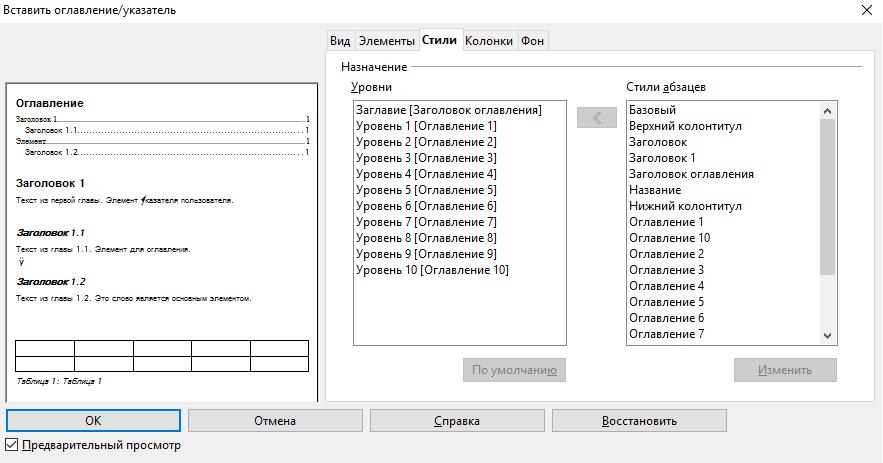 OpenOffice Writer. Вставка оглавления. Стили