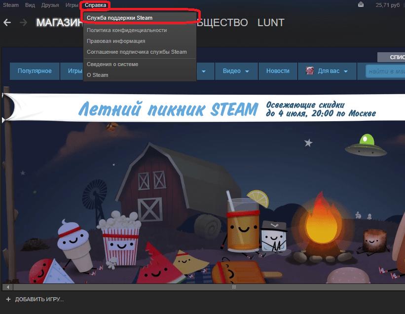 Открытие формы поддержки в Steam