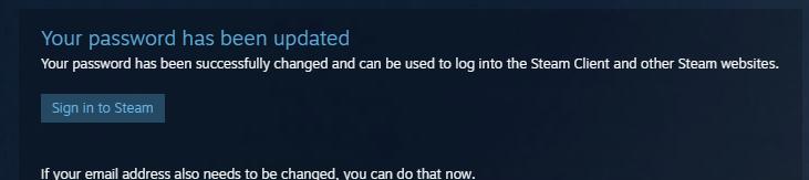 Пароль обновлен в Steam