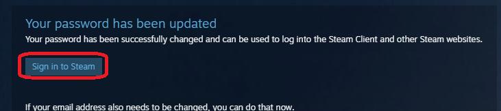 Переход к форме входа в Steam