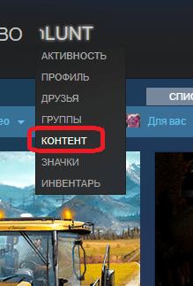 Переход к изменению контента в Steam