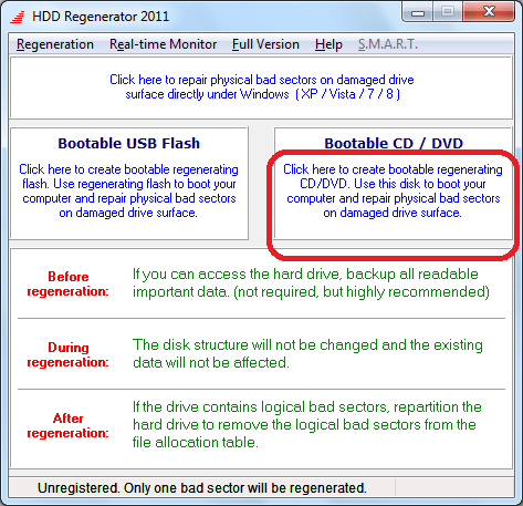 Переход к созданию загрузочного диска в программе HDD Regenerator