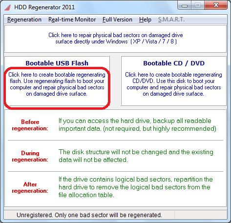 Переход к созданию загрузочной флешки в программе HDD Regenerator