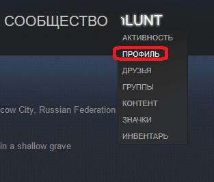 Переход к странице пользователя Steam