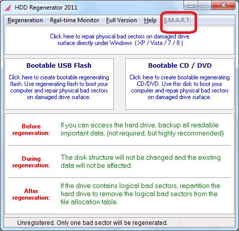 Переход к тесту S.M.A.R.T. в программе HDD Regenerator
