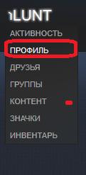 Переход на страницу профиля в Steam
