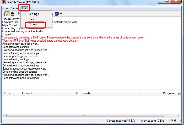 Переход в раздел редактирования групп пользователей в программе FileZilla Server