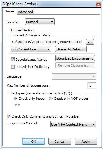 Плагин DSpellCheck  в программе Notepad++