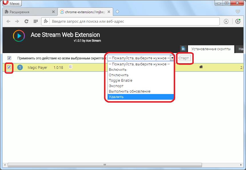 Применяемые действия со сриптом TS Magic Player для Opera