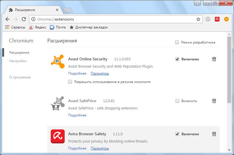 Расширения браузера Chromium