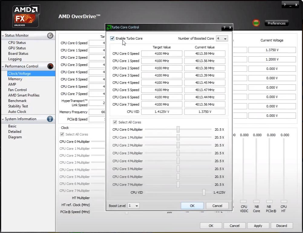 Разгон при включенном Turbo Core в AMD OverDrive