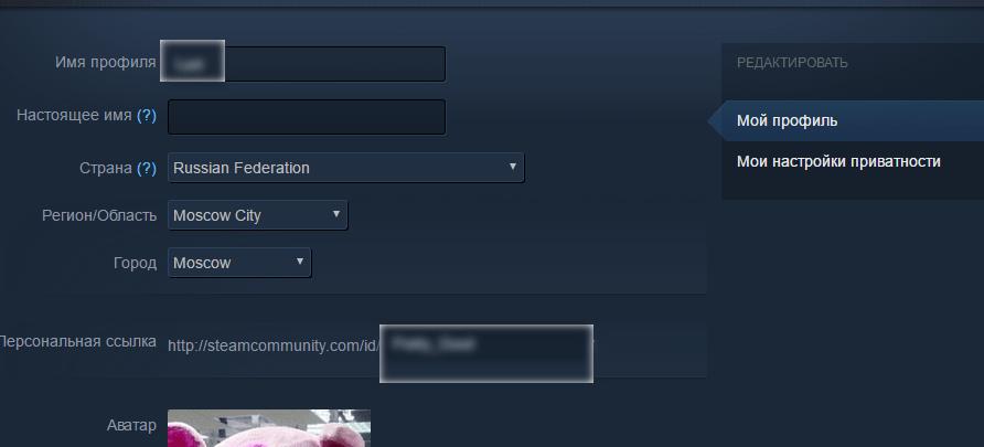 Редактирование данных профиля Steam
