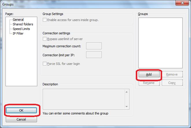 Редактирование групп в программе FileZilla Server