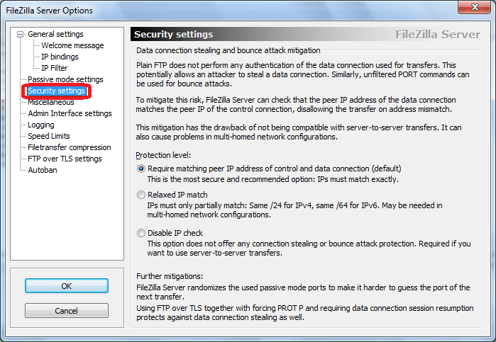 Security Settings программы FileZilla Server