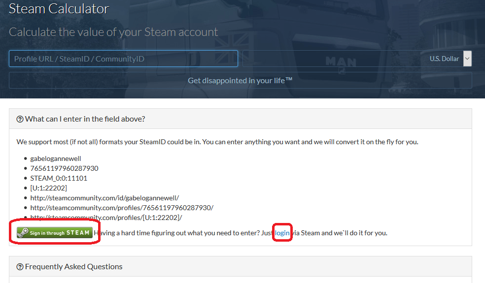 Сервис расчета стоимости аккаунта в Steam