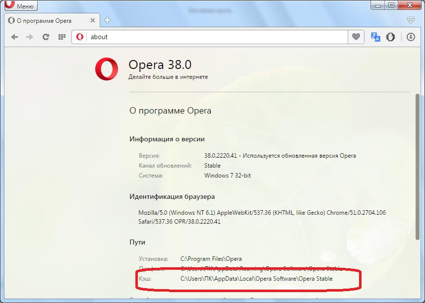 Сведения о расположении кэша в браузере Opera
