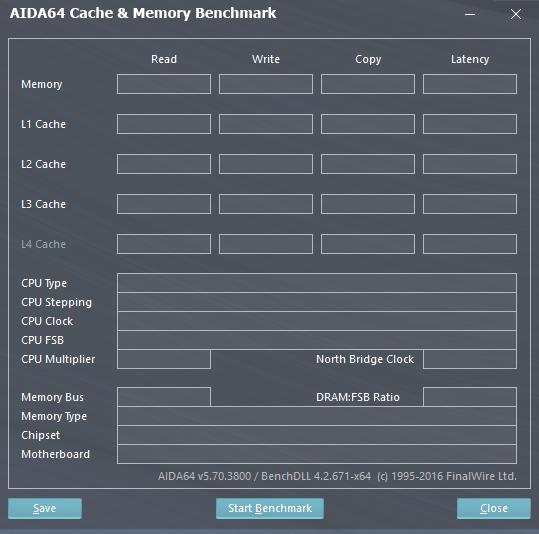 Тест кеша и памяти в AIDA64