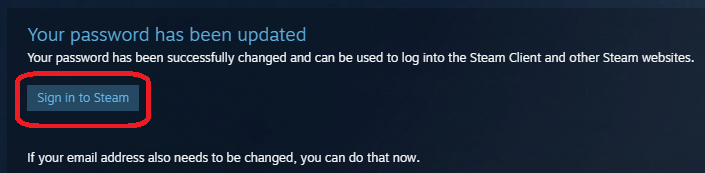 Успешное изменение пароля для восстановления доступа к аккаунту Steam