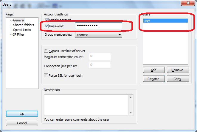 Установка пароля в программе FileZilla Server