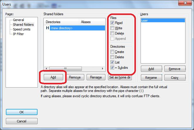 Установка прав доступа в программе FileZilla Server