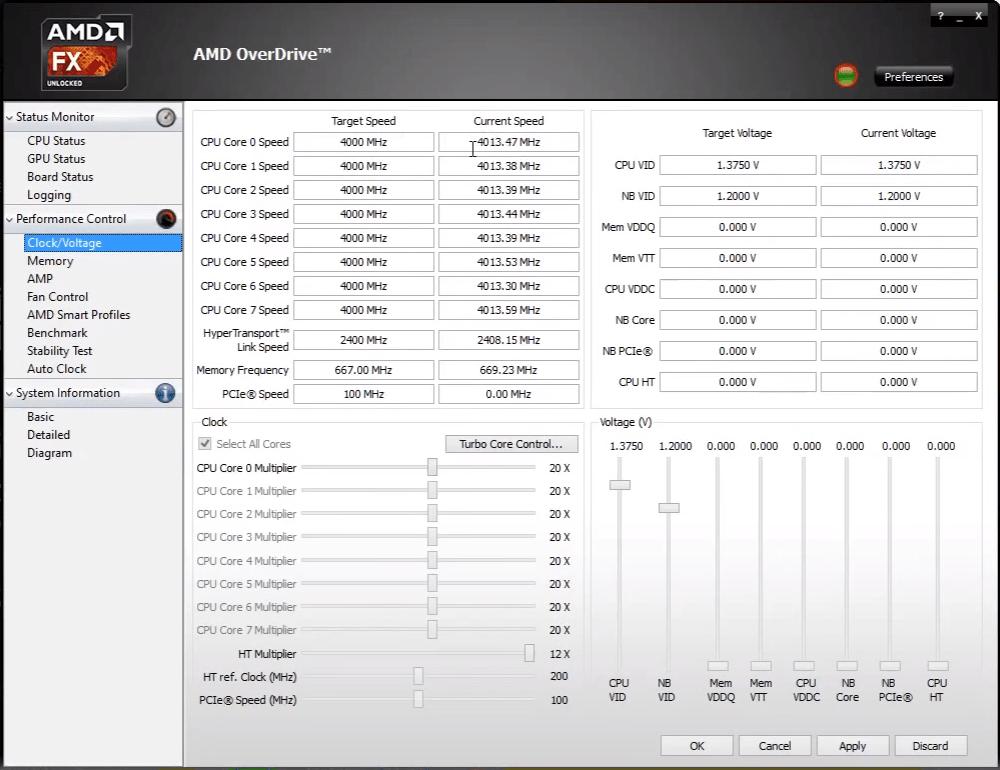 Вкладка с разгоном в AMD OverDrive