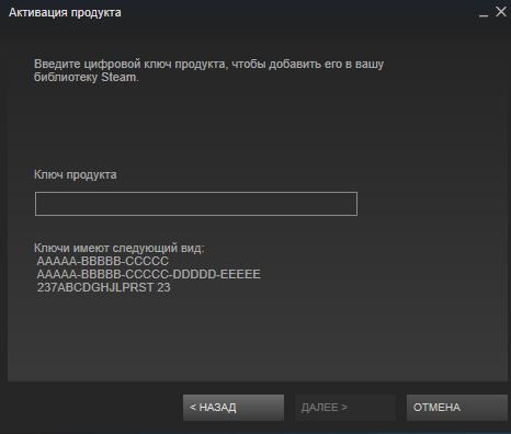 Ввод ключа от игры Steam
