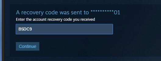 Ввод проверочного кода с телефона для восстановления пароля от Steam