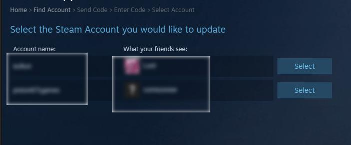 Выбор аккаунта для восстановления пароля в Steam