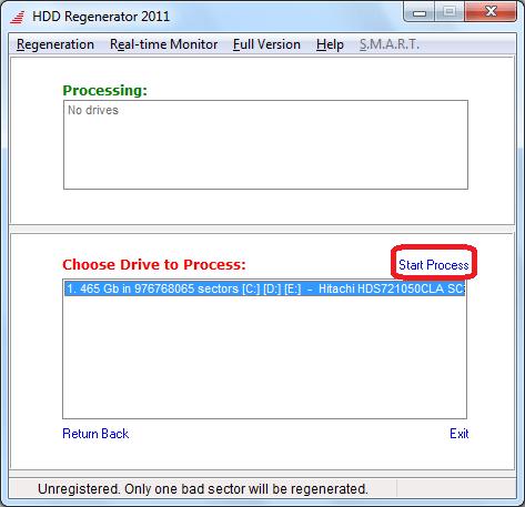 Выбор диска в программе HDD Regenerator