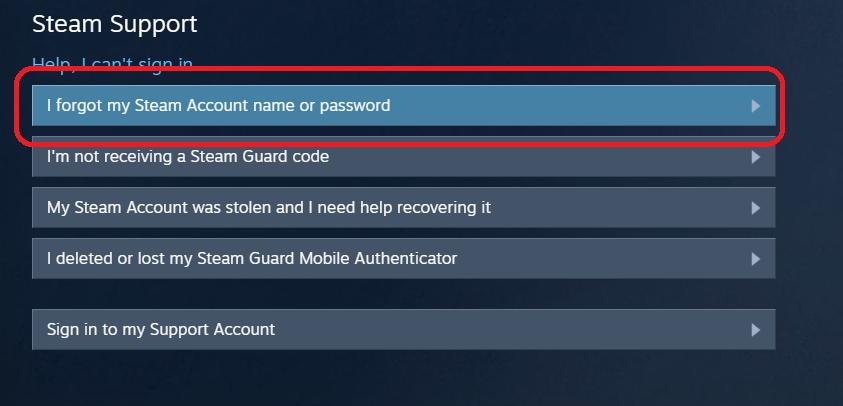Выбор проблемы с забытым паролем в Steam