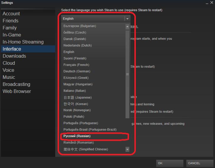 Steam на английском языке как сделать русский