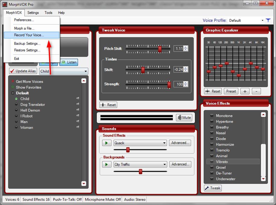 Запись речи в MorphVox Pro 1